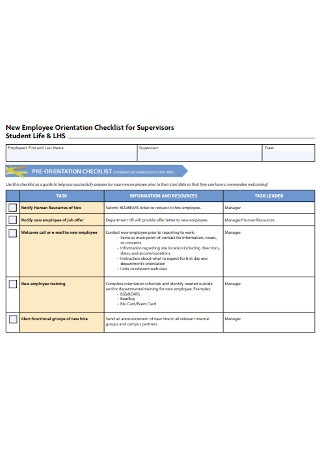 Supervisor Orientation Checklist