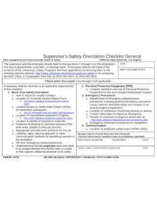 Supervisor Safety Orientation Checklist