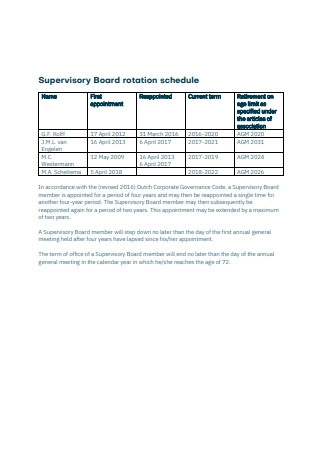 Supervisory Board Rotation Schedule Example