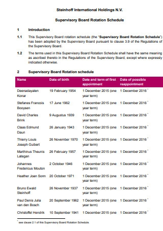 Supervisory Board Rotation Schedule