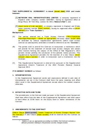 Supplemental Agreement Template