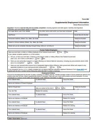 Supplemental Employment Information Form