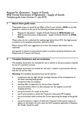 Supply of Goods Request for Quotation