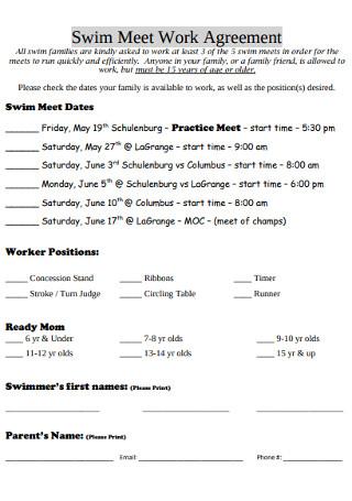 Swim Meet Work Agreement