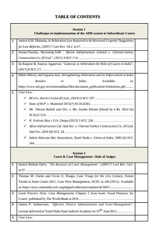 Table of Content Court and Case Management