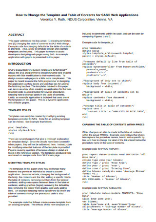 Table of Contents Template