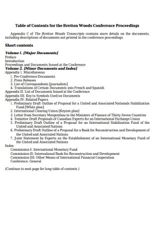 Table of Contents for Conference