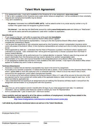 Talent Work Agreement
