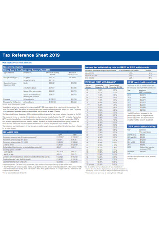 Tax Reference Sheet