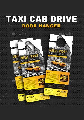 Taxi Cab Drive Door Hanger