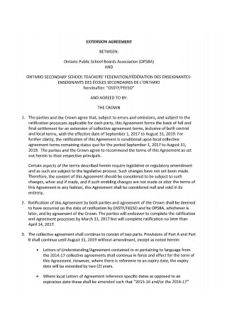 Teachers Extension Agreement