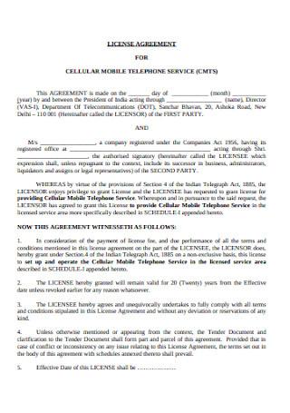 Telecommunication Department License Agreement