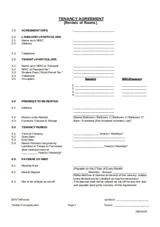 Tenancy Agreement for Rooms
