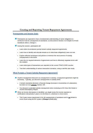 Tenant Repayment Agreement