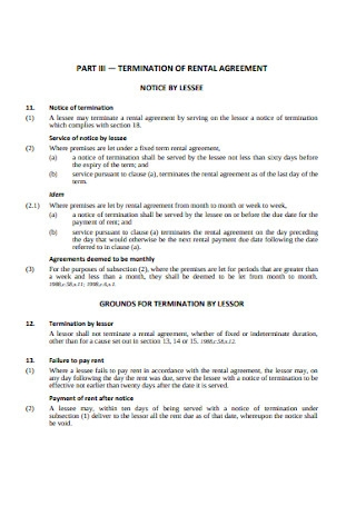 Termination of Rental Agreement