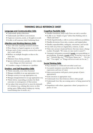 Thinking Skills Reference Sheet