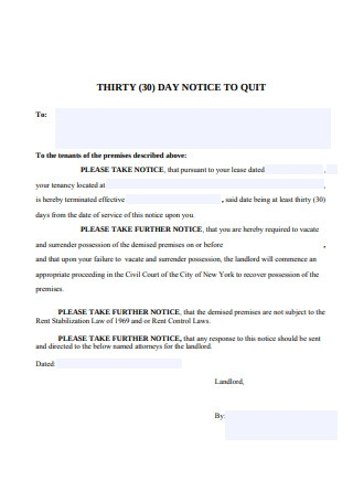 Thirty 30 Day Notice To Quit Sample