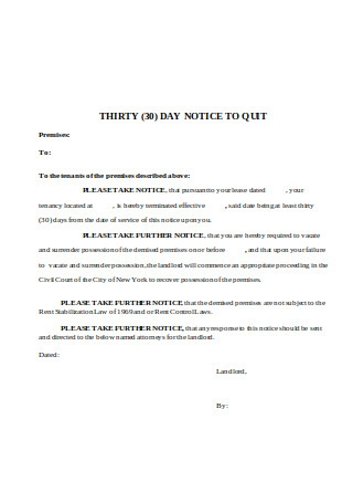Thirty 30 Day Notice To Quit