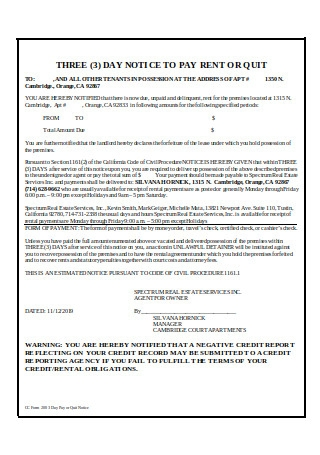 Three 3 Day Notice to Pay Rent or Quit