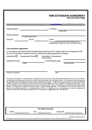 Time Extension Agreement Application Form