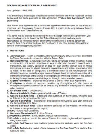 Token Purchase Sales Agreement
