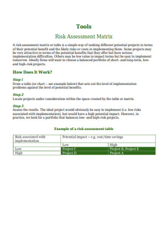 Tools Risk Assessment Matrix