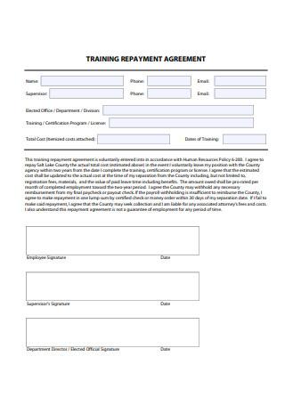 Training Repayment Agreement