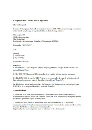 Transfer Broker Agreement
