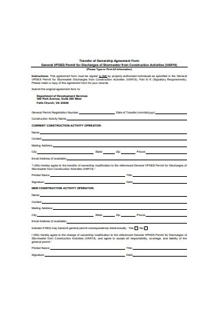 Transfer of Ownership Agreement Form