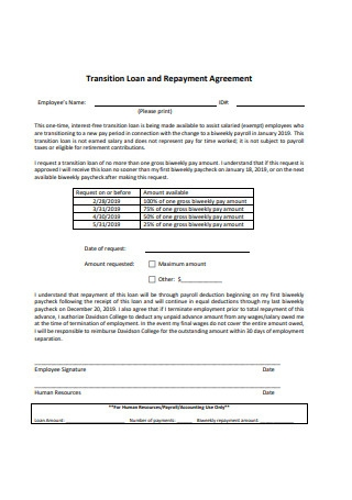 Transition Loan and Repayment Agreement