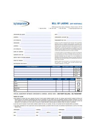 Transportation Bill of Lading Form Example
