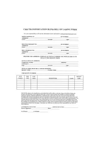 Transportation Blind Bill of Landing Form