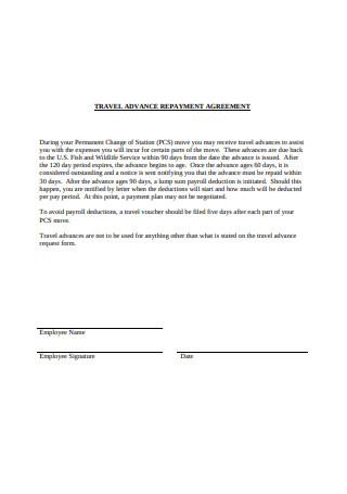 Travel Advance Repayment Agreement