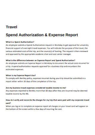 Travel Spend Authorization Expense Report