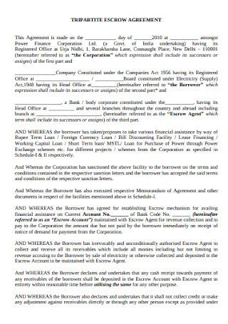 Tripartite Escrow Agreement