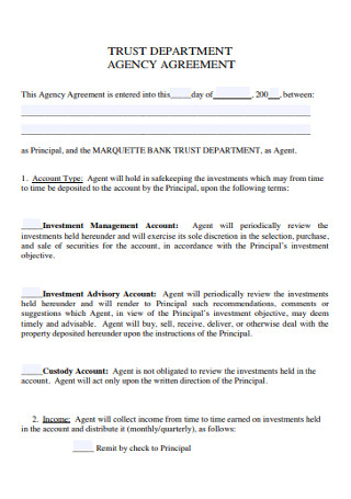 Trust Department Agency Agreement