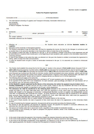 Tuition Fee Payment Agreement Format