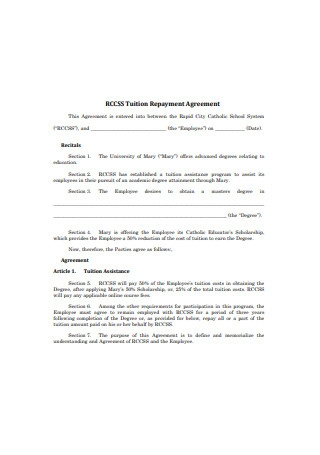 Tuition Repayment Agreement Format