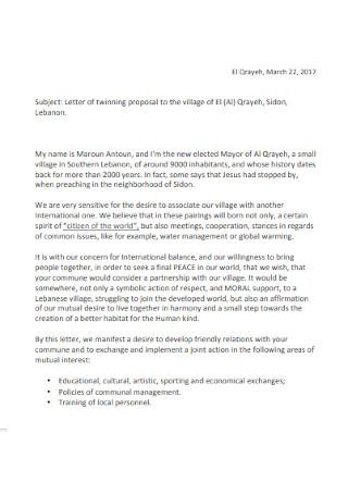 Twinning Proposal Letter