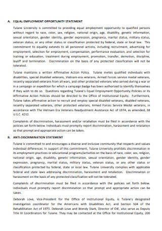 University Anti discrimination Policy