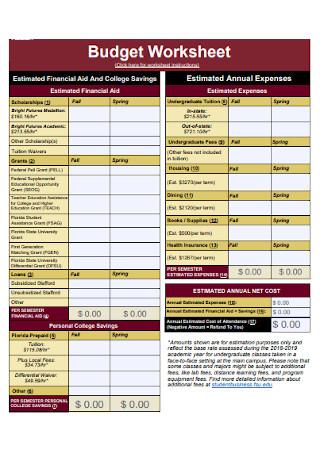 University Budget Template