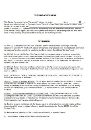 University Escrow Agreement