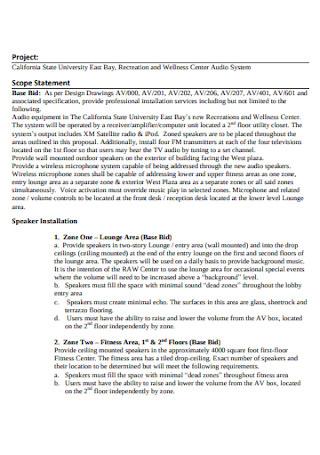 University Recreation Project Scope Statement