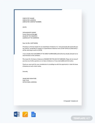 Unpaid Leave of Absence Letter