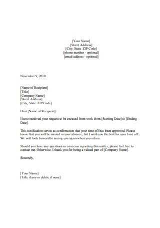 Vacation Leave of Absence Approval Letter