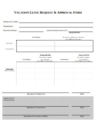 Vacation Request Letter Approval Form