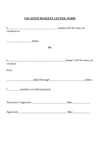 Vacation Request Letter Form Sample