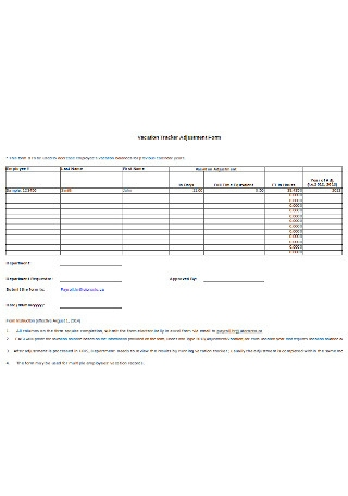 Vacation Tracker Adjustment Form