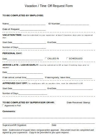 Vacation or Time Off Request Form