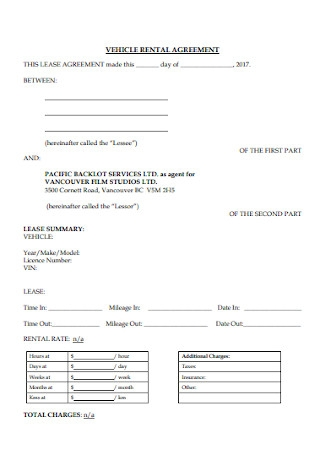 Vehicle Rental Agreement Format